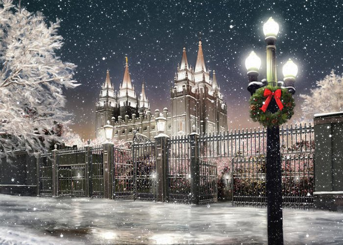 Salt Lake Greeting Card featuring the painting Salt Lake Temple Christmas Lights by Brent Borup