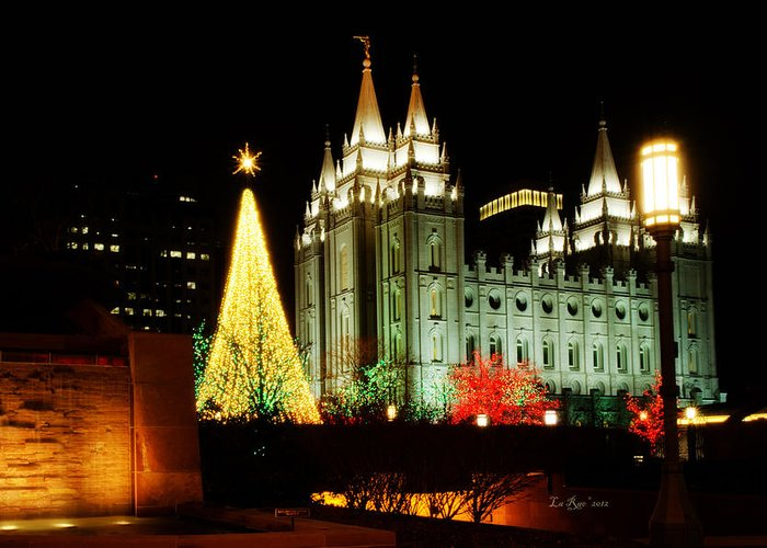 Temple Lights Photography Greeting Card featuring the photograph Salt Lake Temple Christmas Tree by La Rae Roberts
