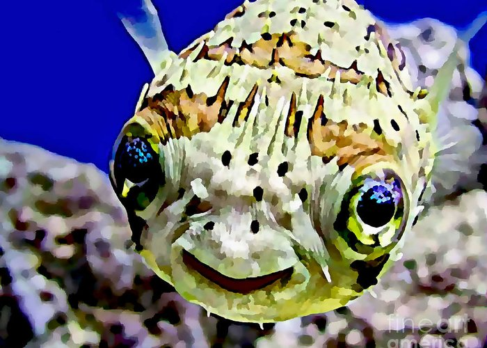 Porcupine Fish Mixed Media Greeting Cards