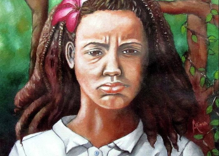 Portrait Greeting Card featuring the painting Salty Girl by Alima Newton