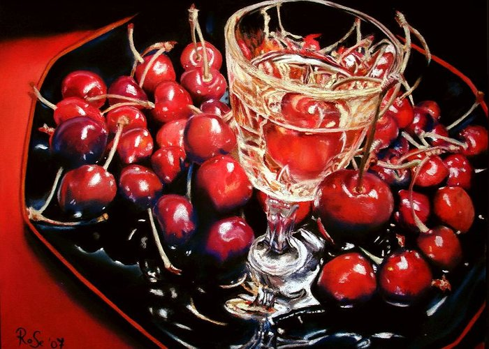 Still Life Greeting Card featuring the painting Salut Mon Cherie by Rose Sciberras