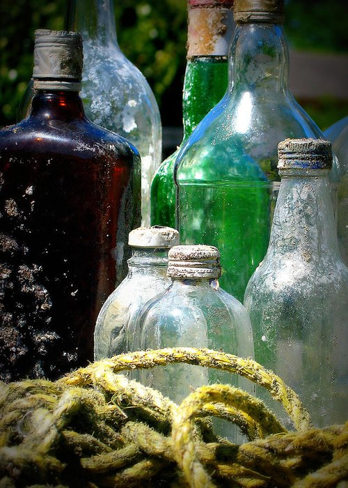 Bottles Greeting Card featuring the photograph Salvaged From The Sea I by Mg Blackstock