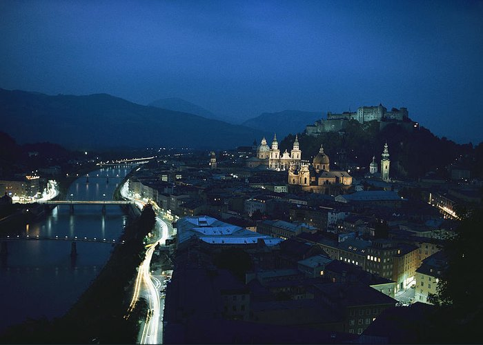 Europe Greeting Card featuring the photograph Salzburg, Austria, Night View by George F. Mobley