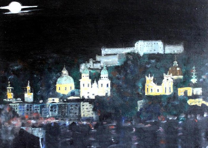 City Greeting Card featuring the painting Salzburg In Moonlight by Michela Akers