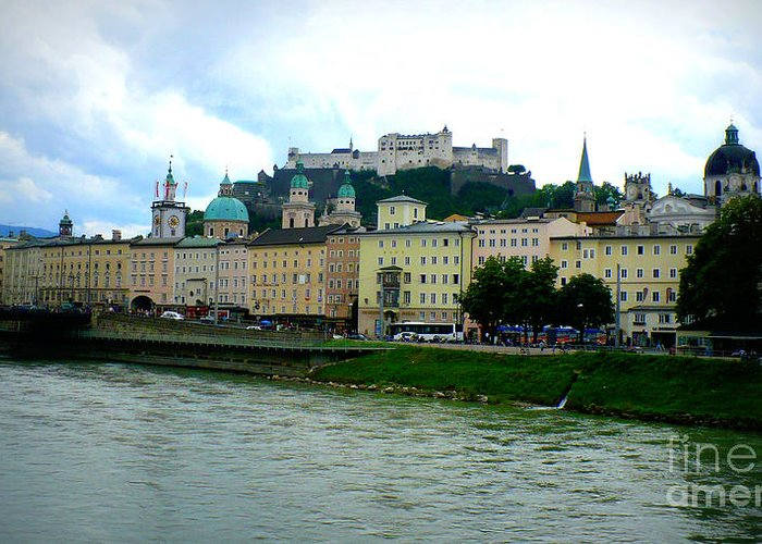 Salzburg Greeting Card featuring the photograph Salzburg Over The Danube by Carol Groenen