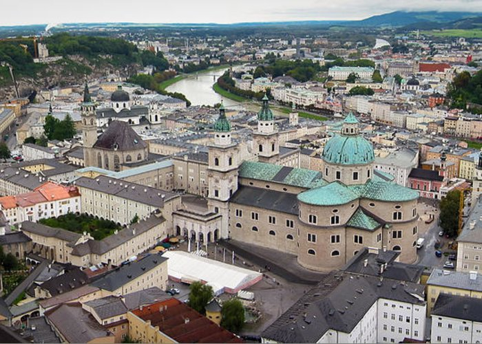 3scape Photos Greeting Card featuring the photograph Salzburg Panoramic by Adam Romanowicz