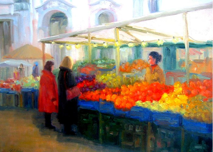 Market Greeting Card featuring the painting Salzburg Shoppers by Bunny Oliver