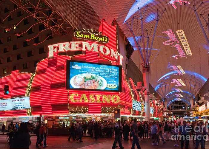 Las Vegas Greeting Card featuring the photograph Sam Boyds Fremont Casino by Andy Smy