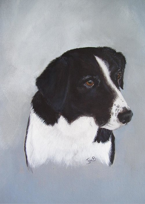 Pet Portrait Greeting Card featuring the painting Sam by Janice M Booth