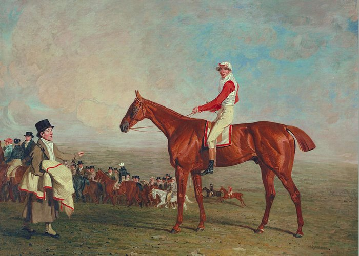 Horse Greeting Card featuring the painting Sam With Sam Chifney Jr. Up by Benjamin Marshall