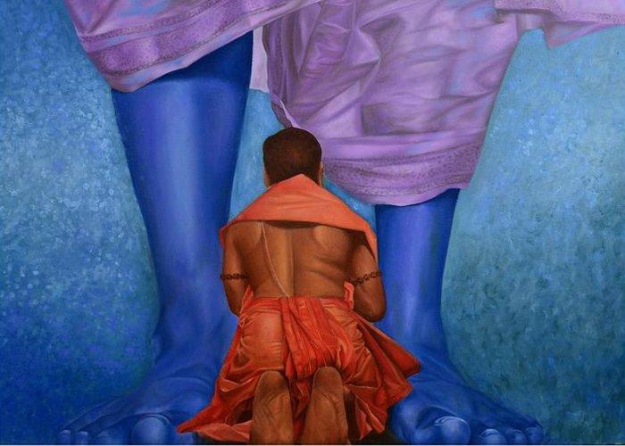 Devotion Greeting Card featuring the painting Samarpan 1 by Deepak Deshmukh