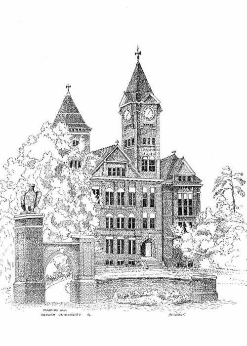 Samford Hall Greeting Card featuring the drawing Samford Hall by Barney Hedrick