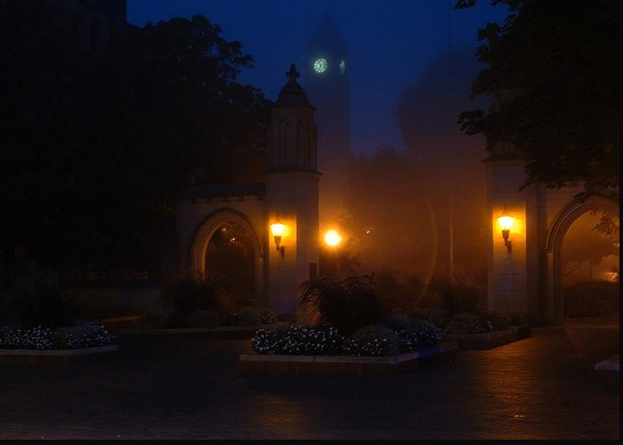 Iu Greeting Card featuring the photograph Sample Gates In The Fog by Jon Benson