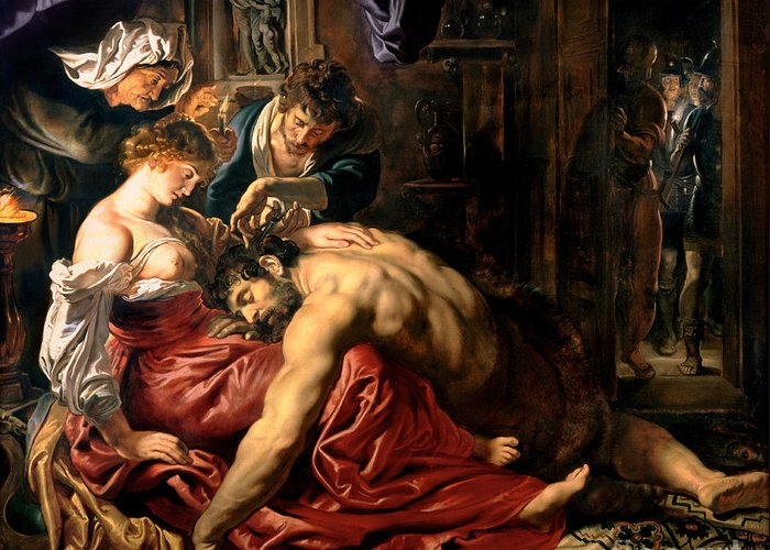 Samson Greeting Card featuring the painting Samson And Delilah by Peter Paul Rubens
