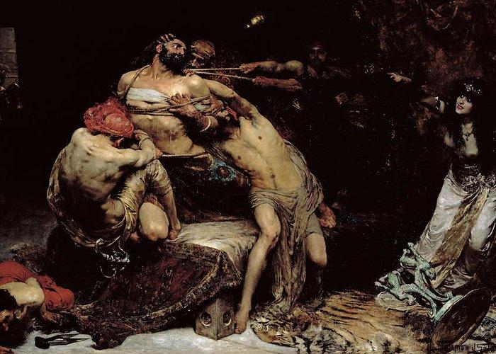 Bound; Philistines; Philistine; Delilah; Rope; Cutting Hair; Strength; Struggle; Dramatic; Dalila; Samson Greeting Card featuring the painting Samson by Solomon Joseph Solomon