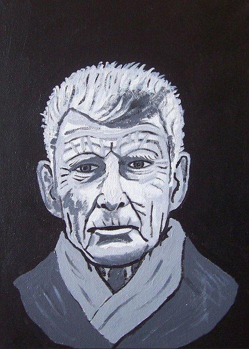 Samuel Beckett Greeting Card featuring the painting Samuel Beckett by Eamon Reilly
