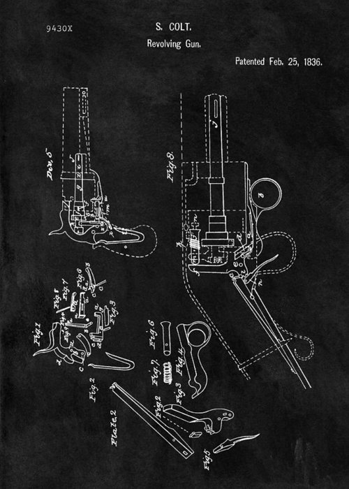 1836 Colt Revolver Patent Greeting Card featuring the drawing Samuel Colt 1836 Revolver Patent by Dan Sproul