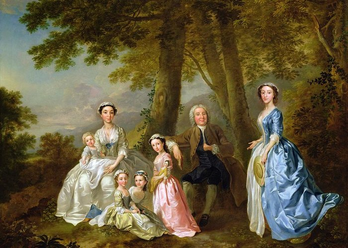 Samuel Greeting Card featuring the painting Samuel Richardson Seated With His Family by Francis Hayman