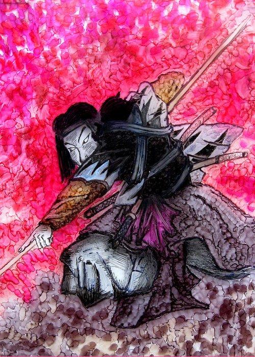 Painting Greeting Card featuring the painting Samurai by Jeff DOttavio