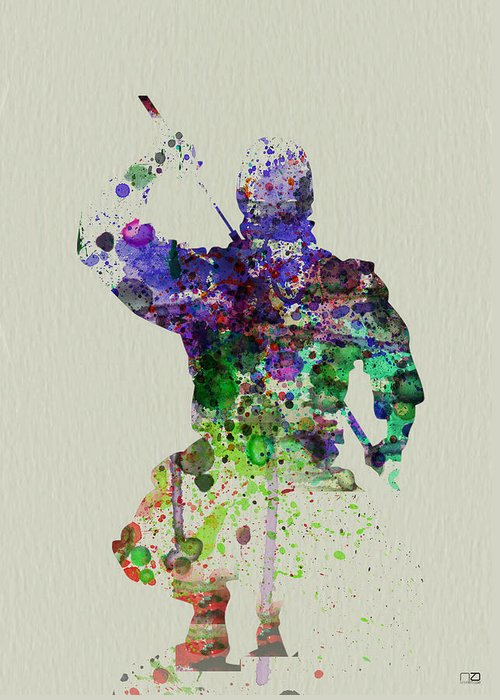 Ninja Greeting Card featuring the painting Samurai by Naxart Studio
