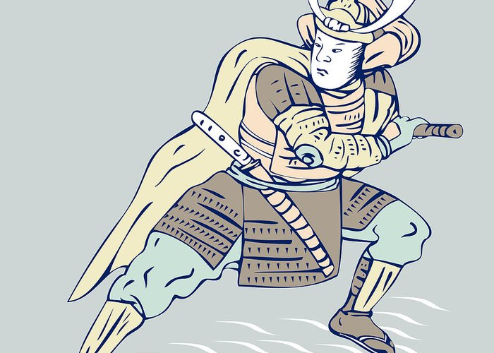 Warrior Greeting Card featuring the digital art Samurai Warrior by Aloysius Patrimonio