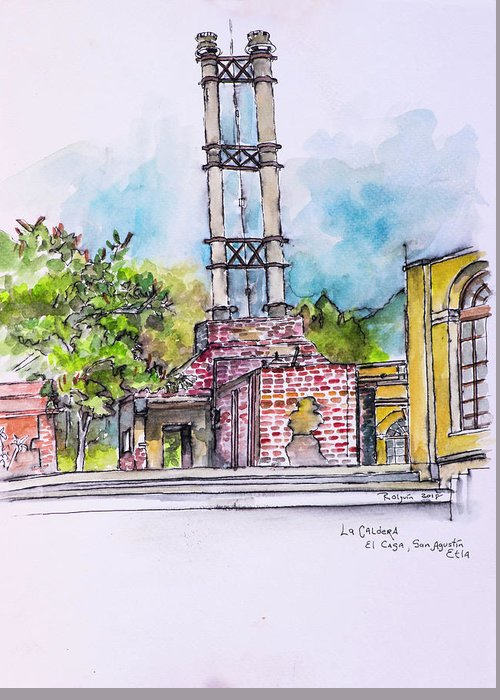Urban Sketching Greeting Card featuring the painting San Agustin Etla by Rocio Olguin