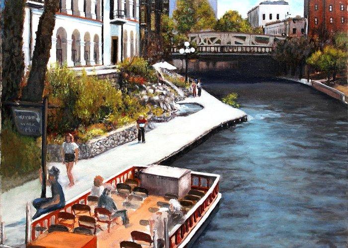 Texas Greeting Card featuring the painting San Antonio River Walk by M Diane Bonaparte