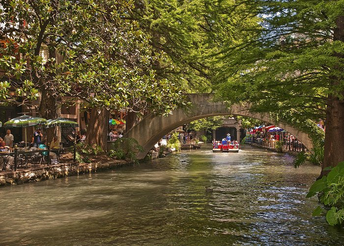 San Antonio Greeting Card featuring the photograph San Antonio Riverwalk by Steven Sparks