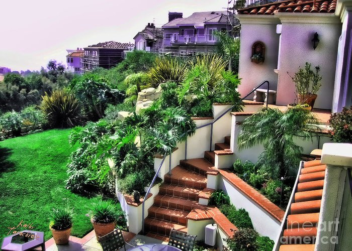 San Clemente Greeting Card featuring the photograph San Clemente Estate Backyard by Kathy Tarochione
