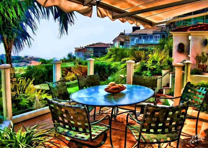 San Clemente Greeting Card featuring the photograph San Clemente Estate Patio 2 by Kathy Tarochione
