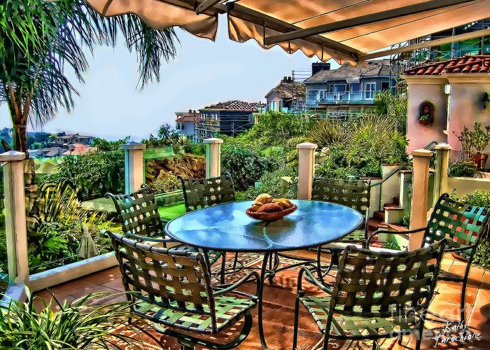 San Clemente Greeting Card featuring the photograph San Clemente Estate Patio by Kathy Tarochione