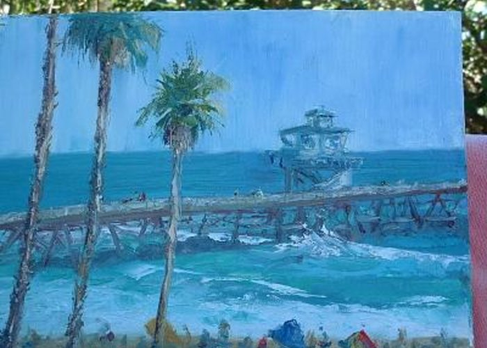 San Clemente California Pier Greeting Card featuring the painting San Clemente Pier by Bryan Alexander