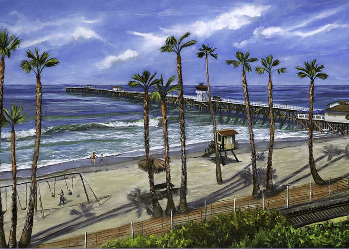 Pier Greeting Card featuring the painting San Clemente Pier by Lisa Reinhardt