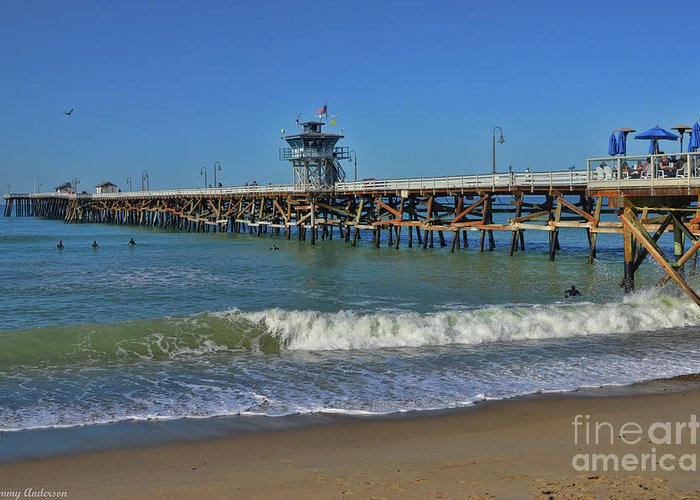Warf Greeting Card featuring the photograph San Clemente Pier by Tommy Anderson
