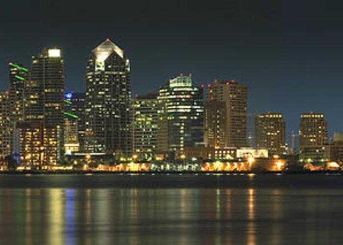 Cityscape Greeting Card featuring the photograph San Diego Cityscape by Mike McGlothlen