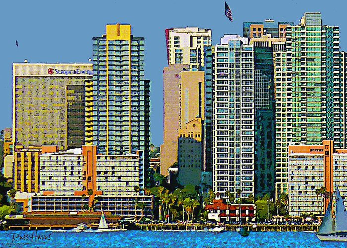 Watercolor Greeting Card featuring the painting San Diego Downtown Living - Bayside by Russ Harris