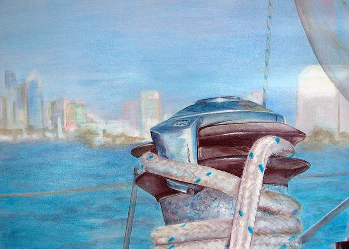 Landscape Greeting Card featuring the painting San Diego by Muriel Dolemieux