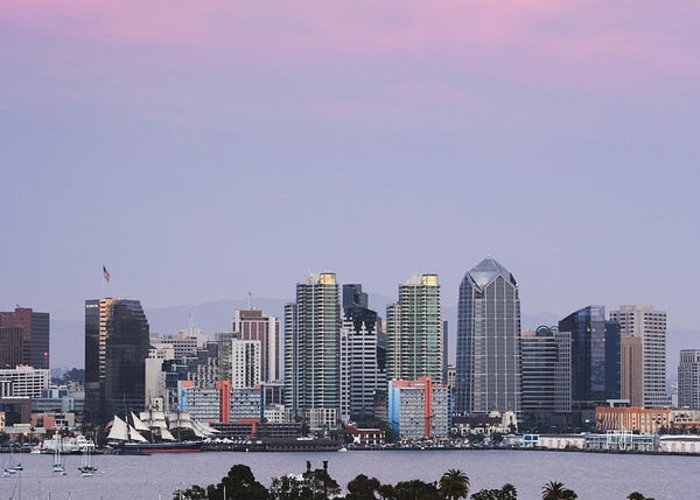 Architecture Greeting Card featuring the photograph San Diego Skyline And Marina At Dusk by Jeremy Woodhouse