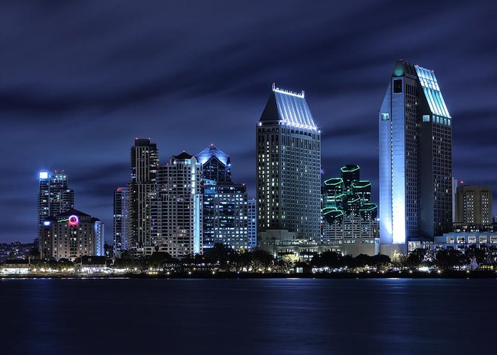 San Diego Greeting Card featuring the photograph San Diego Skyline At Night by Larry Marshall