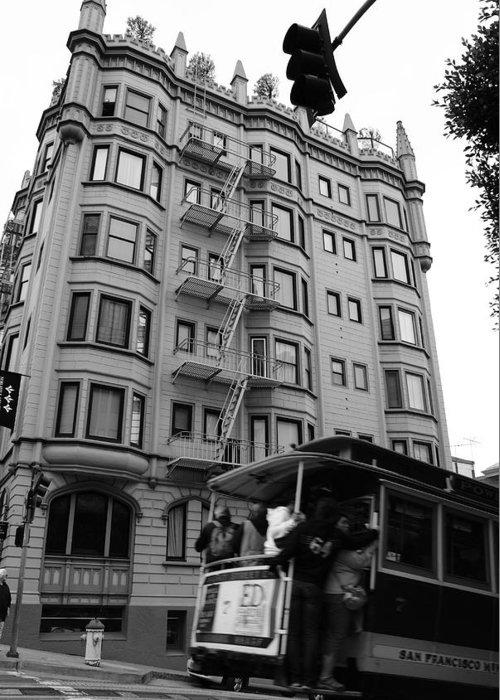 Building Greeting Card featuring the photograph San Fran Trolley by Brian Anderson
