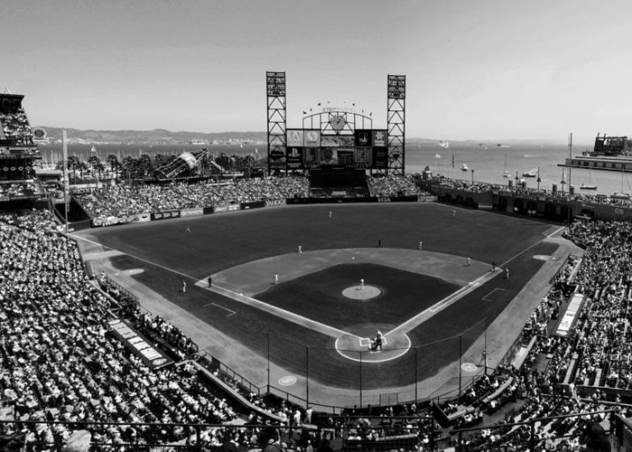 At&t Park Greeting Card featuring the photograph San Francisco Ballpark Bw by C H Apperson