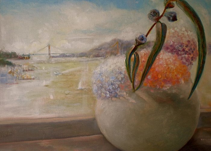 Landscape Greeting Card featuring the painting San Francisco Bay With Floral by Diane Woods