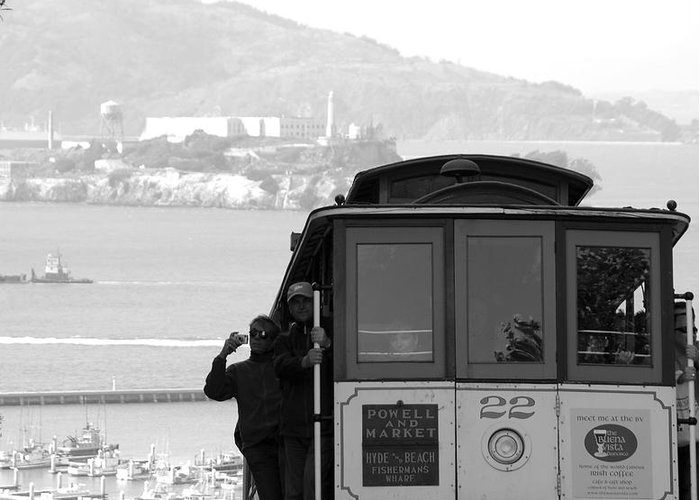 San Francisco Cable Car Greeting Card featuring the photograph San Francisco Cable Car With Alcatraz by Shane Kelly