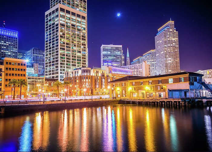 Night Greeting Card featuring the photograph San Francisco Downtown City Skyline At Night by Alex Grichenko