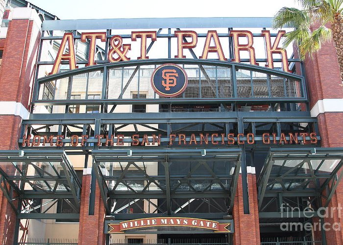 Sport Greeting Card featuring the photograph San Francisco Giants Att Park Willie Mays Entrance . 7d7635 by Wingsdomain Art and Photography