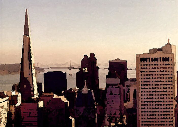 Landscape Greeting Card featuring the photograph San Francisco by John Bradburn