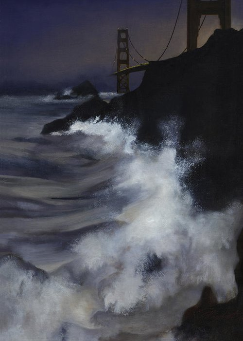 Seascape Greeting Card featuring the painting San Francisco Nocturne by Philippe Plouchart