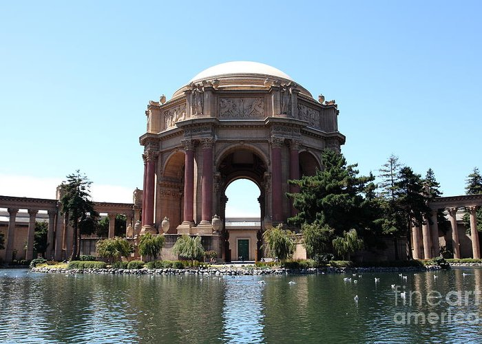 San Francisco Greeting Card featuring the photograph San Francisco Palace Of Fine Arts - 5d18107 by Wingsdomain Art and Photography