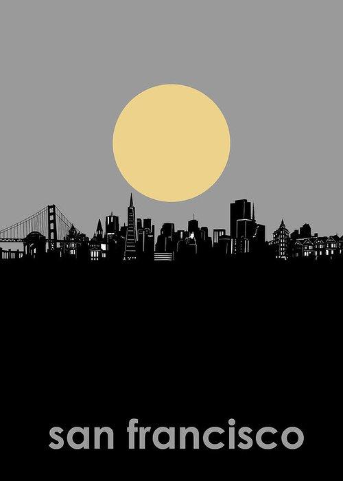 San Francisco Greeting Card featuring the digital art San Francisco Skyline Minimalism by Bekim M