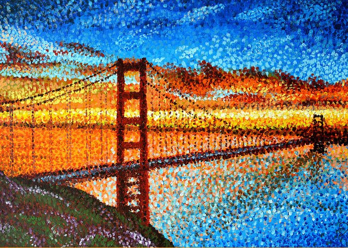 San Francisco Greeting Card featuring the painting San Francisco Sunset by Hadi Aghaee
